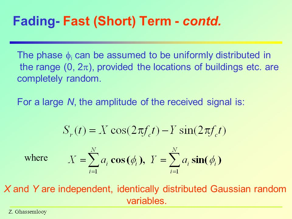 Fading- Fast (Short) Term - contd.