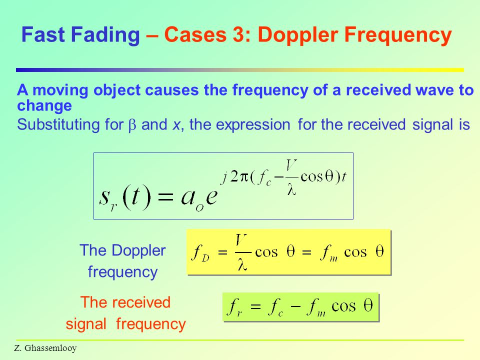 Fast Fading – Cases 3: Doppler Frequency