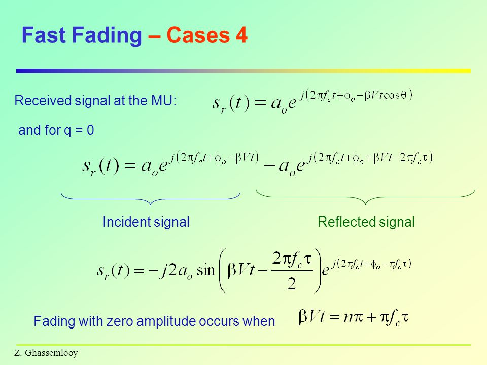 Fast Fading – Cases 4 Received signal at the MU: and for q = 0