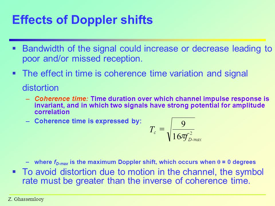 Effects of Doppler shifts