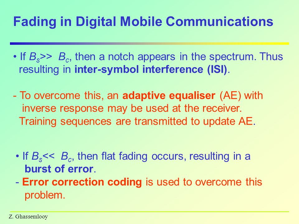 Fading in Digital Mobile Communications