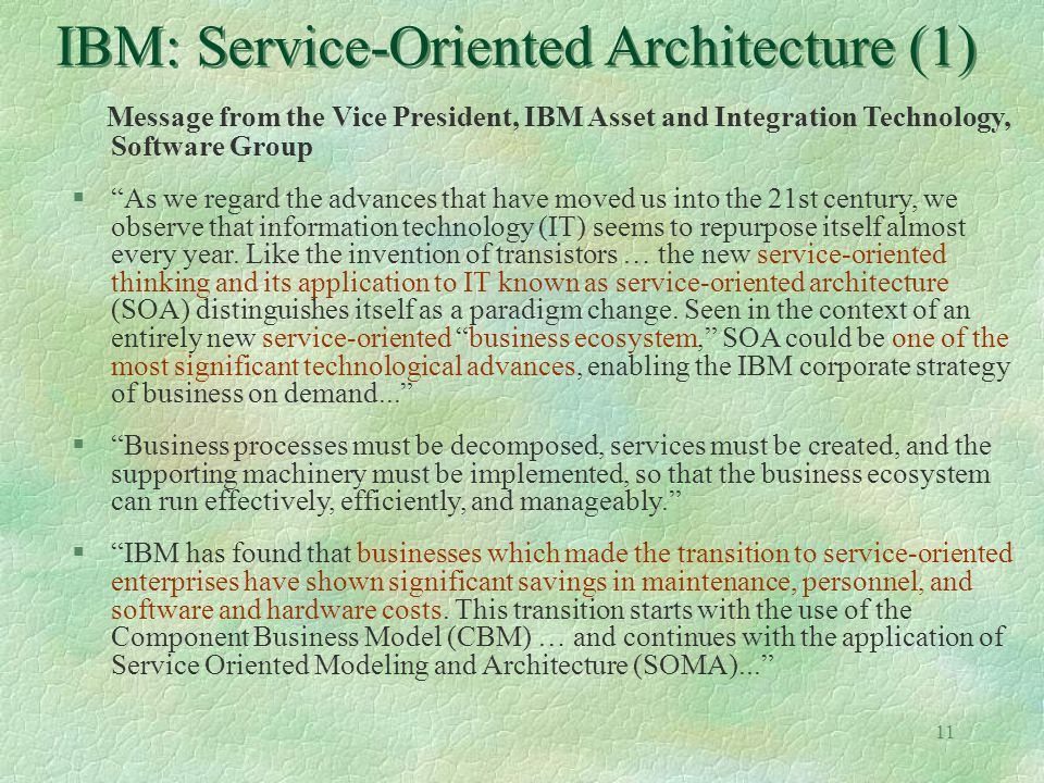 IBM: Service-Oriented Architecture (1)