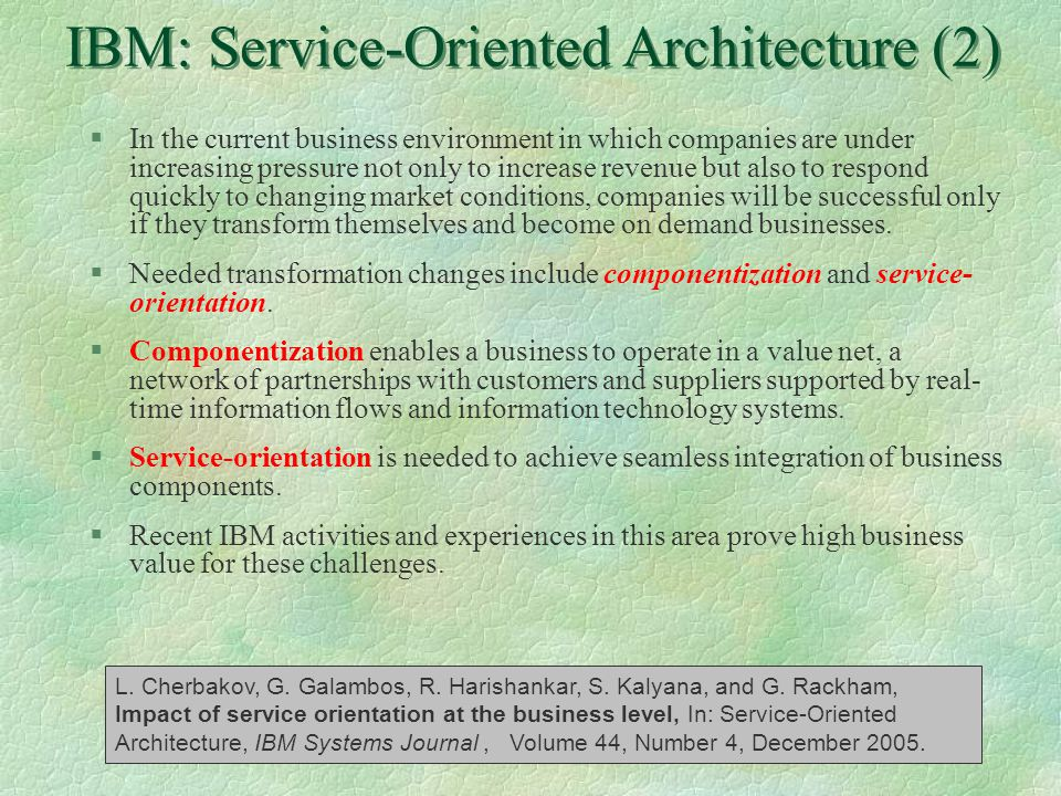 IBM: Service-Oriented Architecture (2)