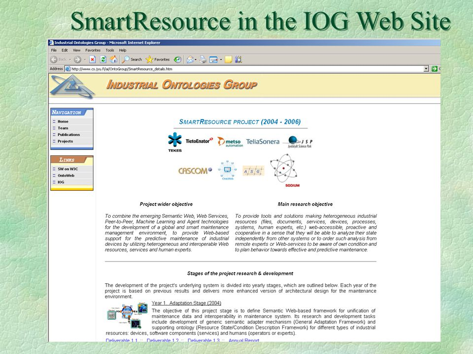 SmartResource in the IOG Web Site