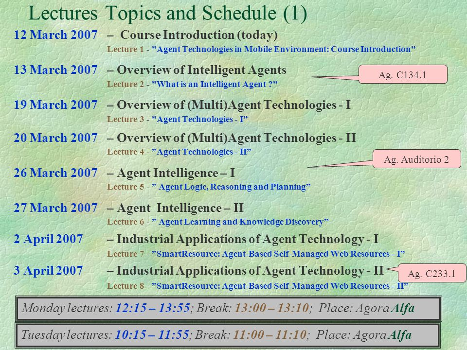 Lectures Topics and Schedule (1)