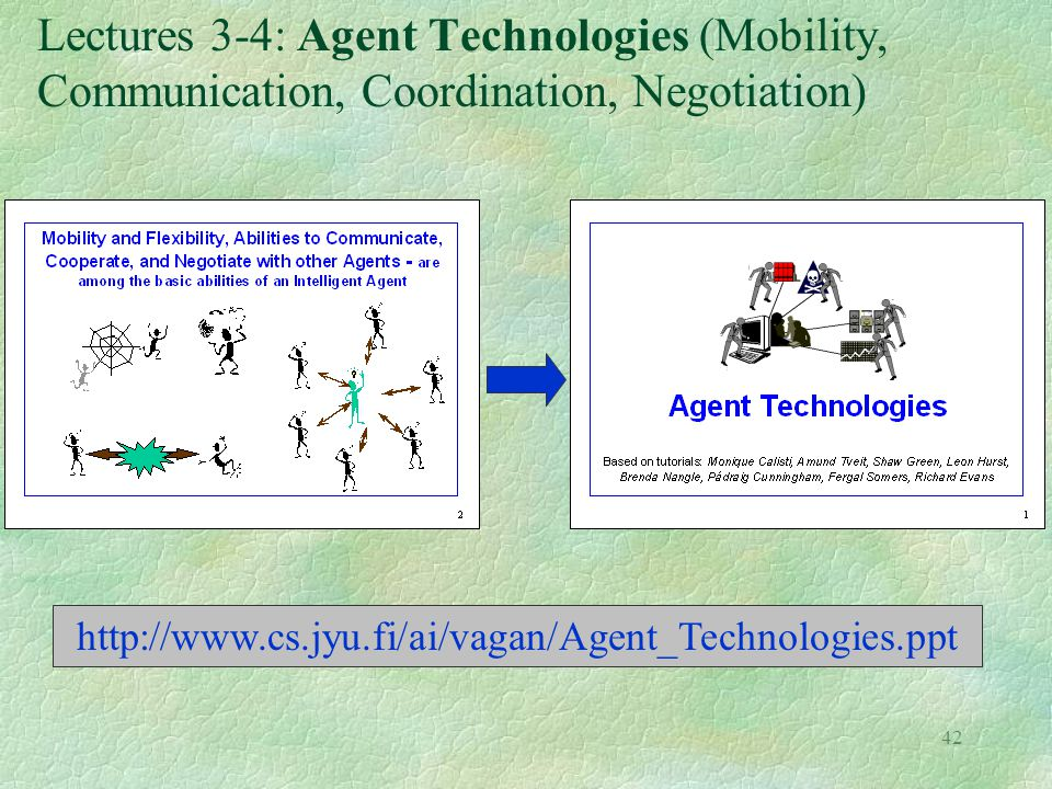 Lectures 3-4: Agent Technologies (Mobility, Communication, Coordination, Negotiation)