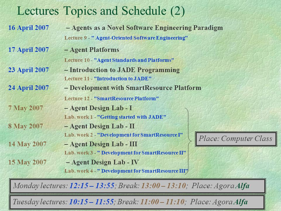 Lectures Topics and Schedule (2)