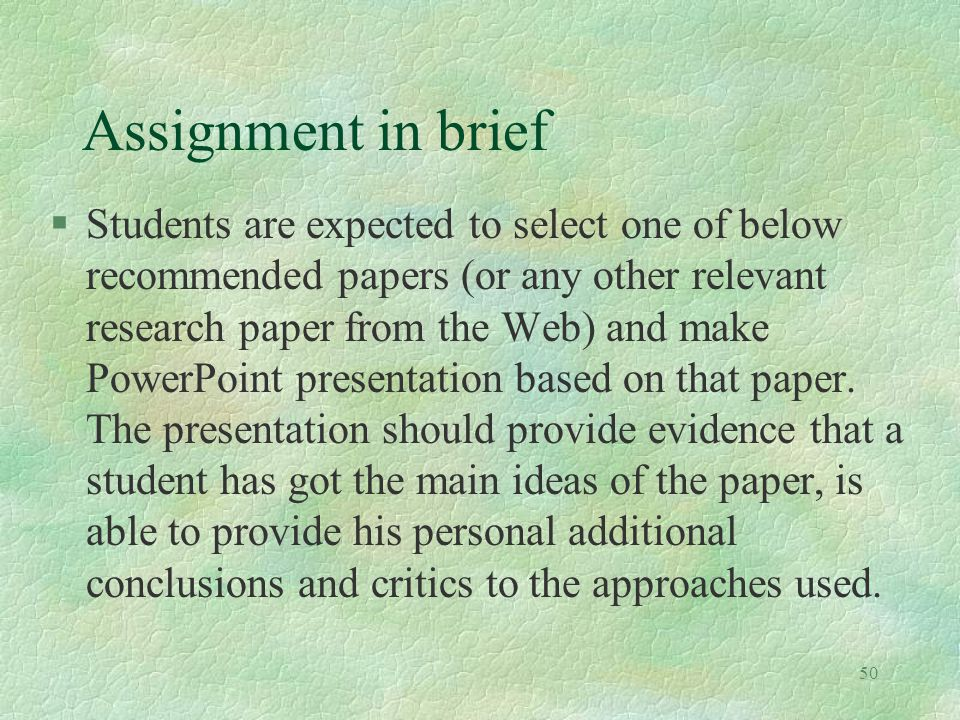 Assignment in brief