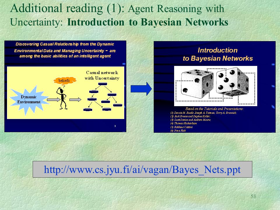 Additional reading (1): Agent Reasoning with Uncertainty: Introduction to Bayesian Networks