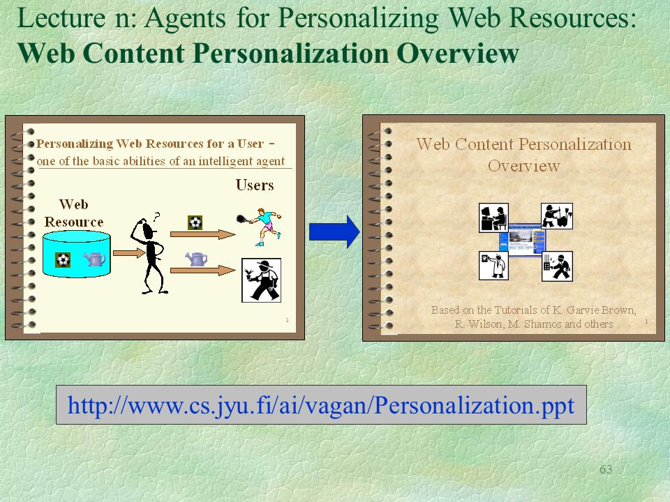 Lecture n: Agents for Personalizing Web Resources: Web Content Personalization Overview