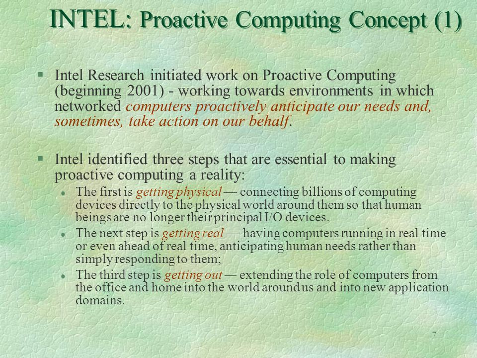 INTEL: Proactive Computing Concept (1)