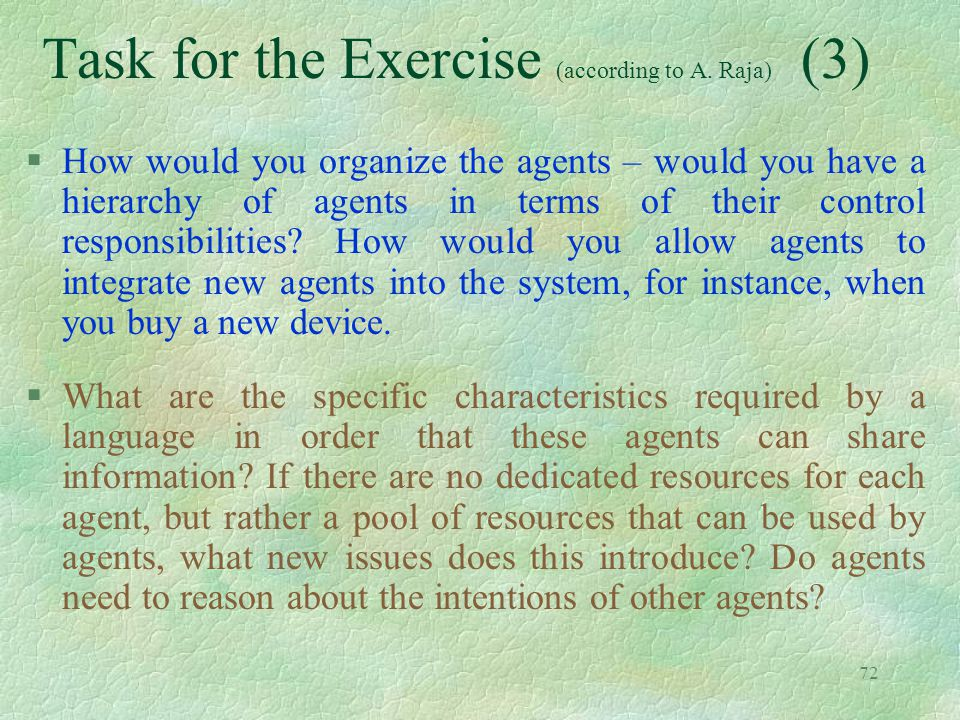 Task for the Exercise (according to A. Raja) (3)