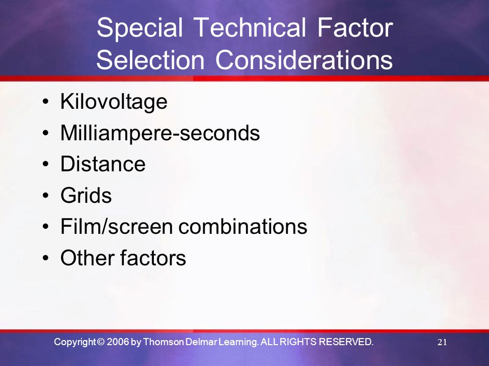 Special Technical Factor Selection Considerations
