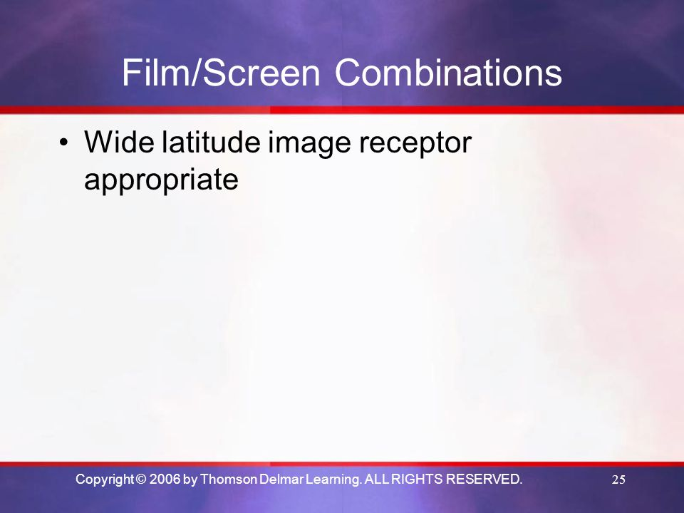 Film/Screen Combinations