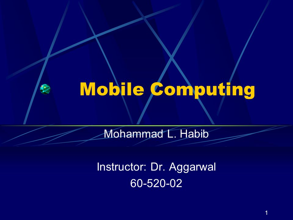 Mohammad L. Habib Instructor: Dr. Aggarwal 60-520-02