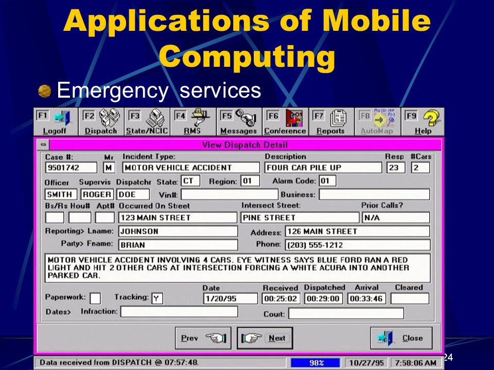 Applications of Mobile Computing