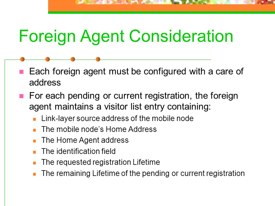 Foreign Agent Consideration