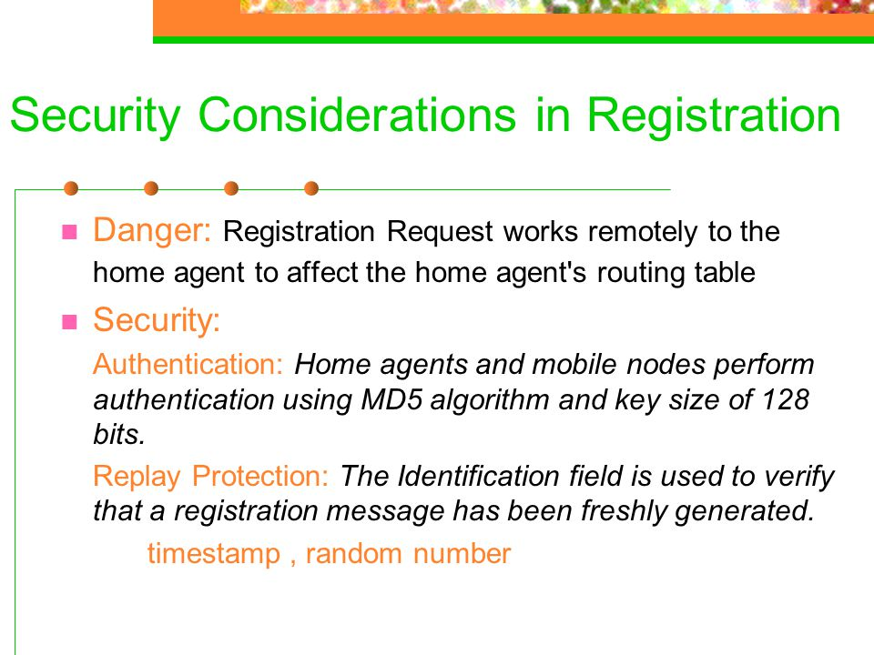 Security Considerations in Registration