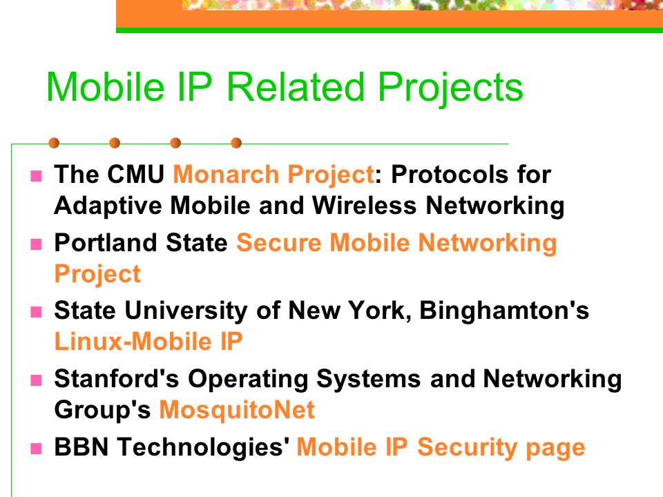 Mobile IP Related Projects