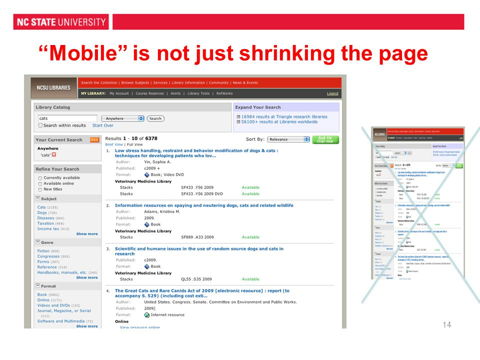 Mobile is not just shrinking the page