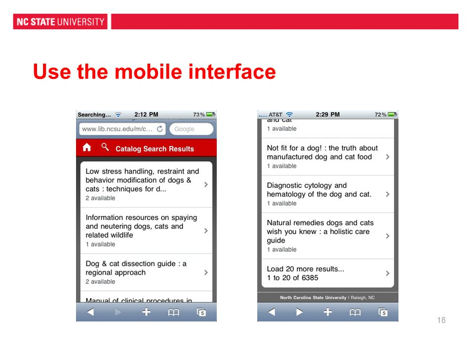 Use the mobile interface