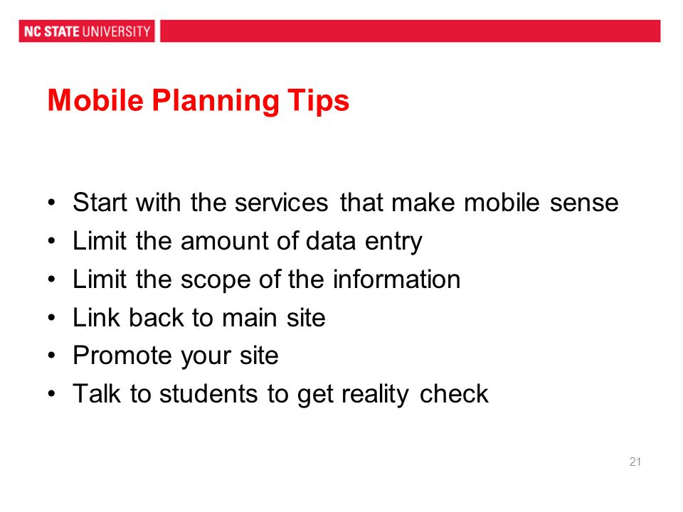 Mobile Planning Tips Start with the services that make mobile sense