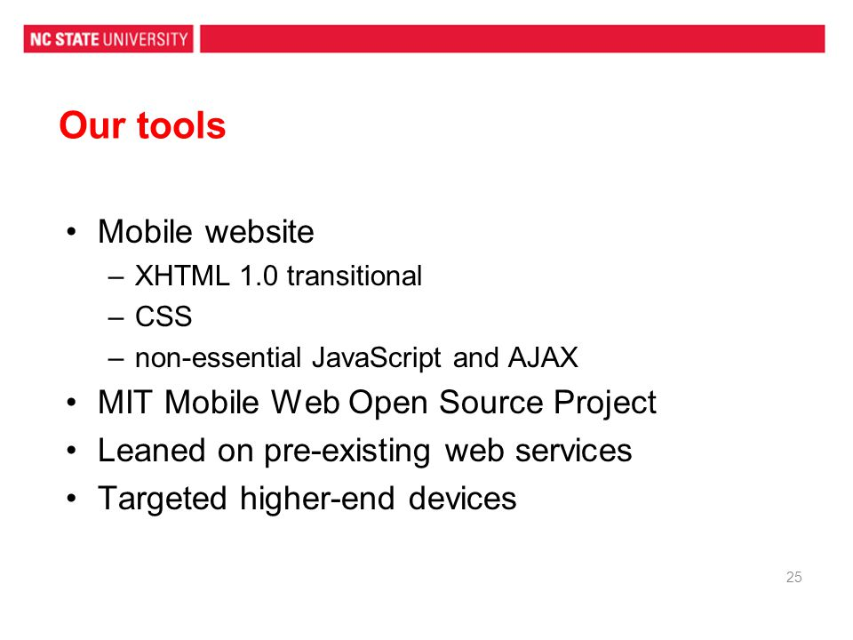 Our tools Mobile website MIT Mobile Web Open Source Project