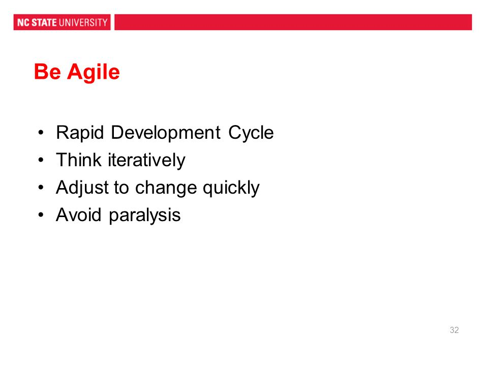 Be Agile Rapid Development Cycle Think iteratively