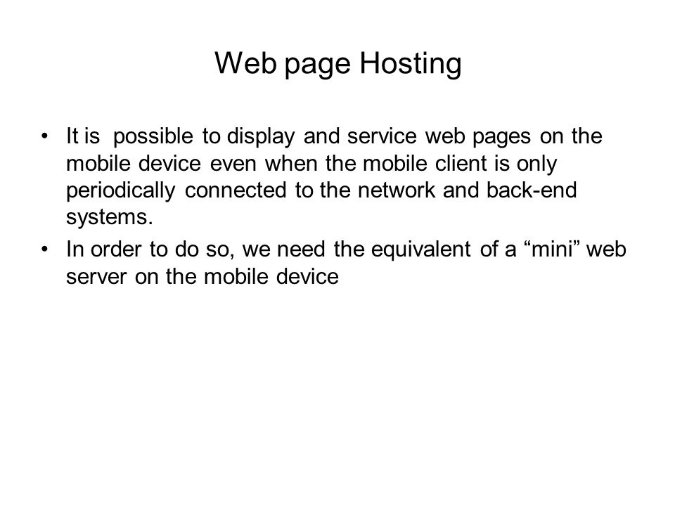 Web page Hosting