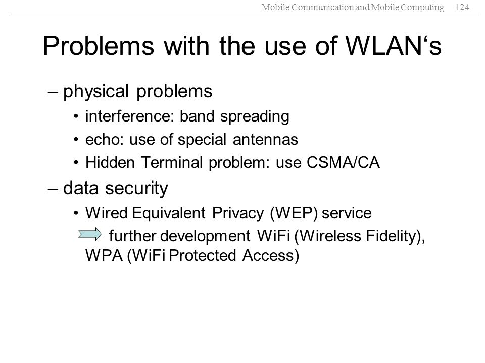 Problems with the use of WLAN's