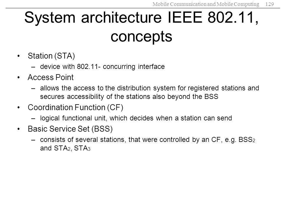 System architecture IEEE 802.11, concepts