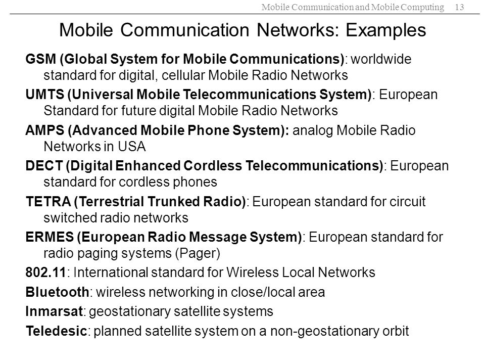 Mobile Communication Networks: Examples