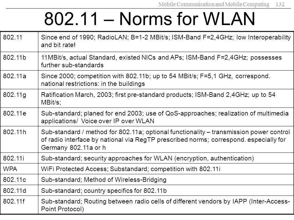 802.11 – Norms for WLAN 802.11. Since end of 1990; RadioLAN; B=1-2 MBit/s; ISM-Band F=2,4GHz; low Interoperability and bit rate!