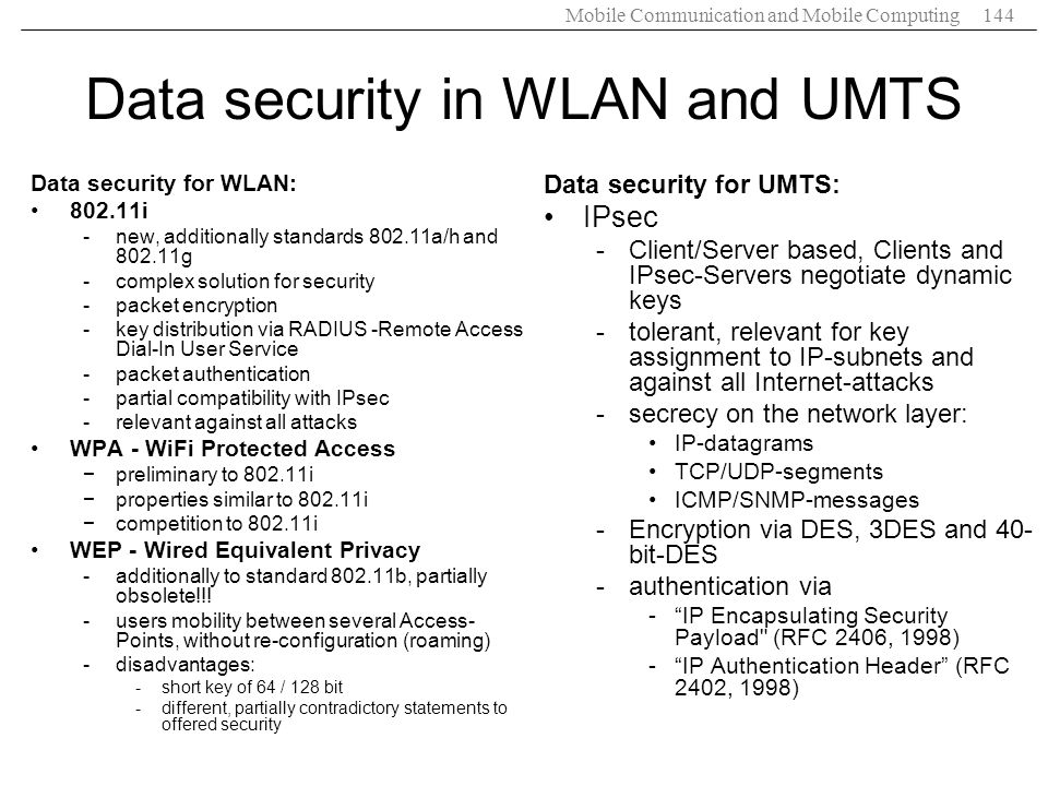 Data security in WLAN and UMTS