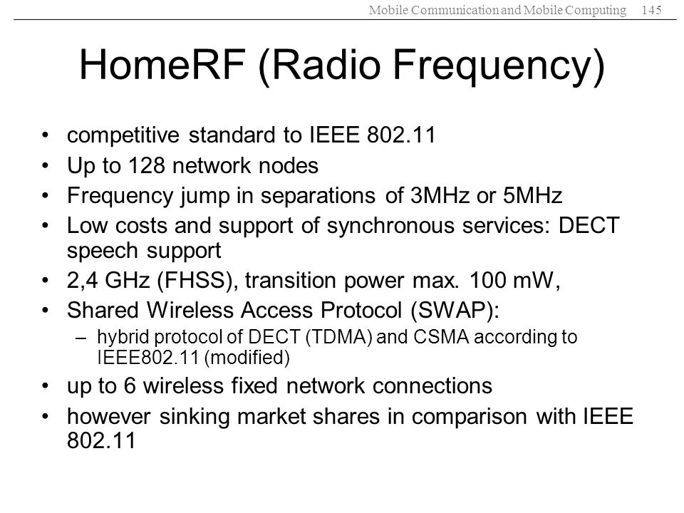 HomeRF (Radio Frequency)