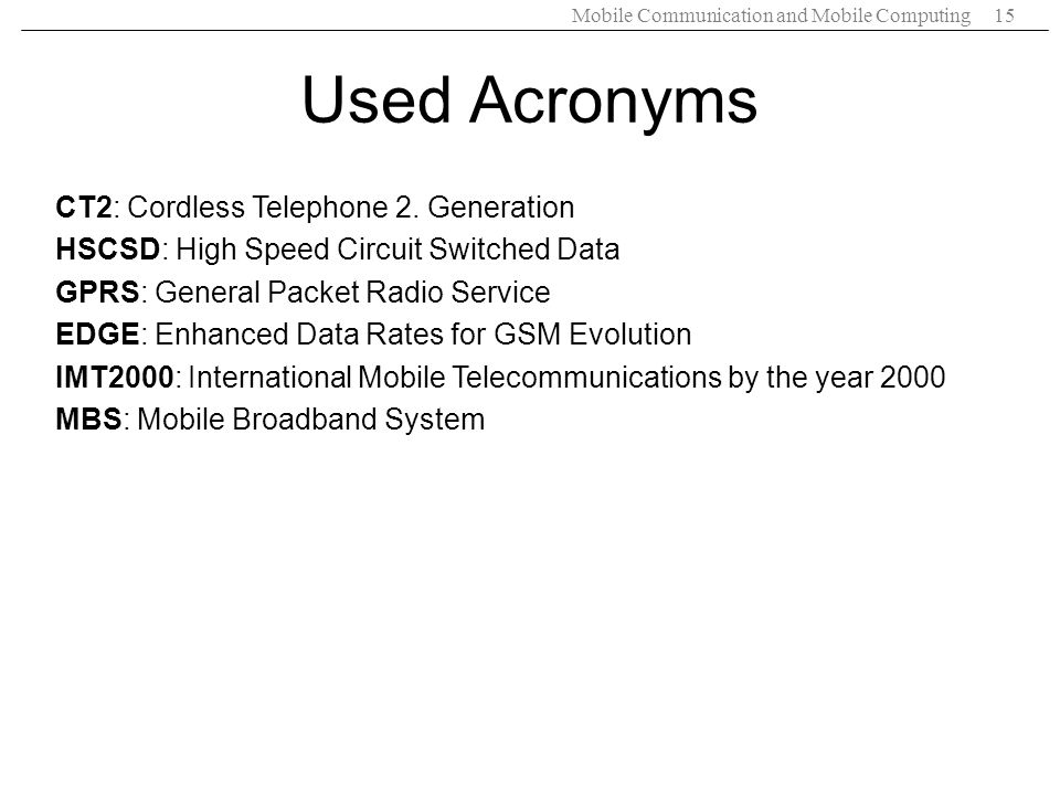 Used Acronyms CT2: Cordless Telephone 2. Generation