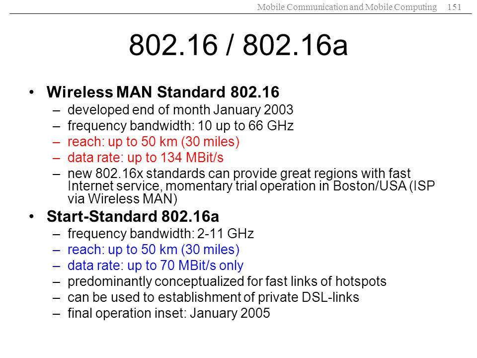 802.16 / 802.16a Wireless MAN Standard 802.16 Start-Standard 802.16a
