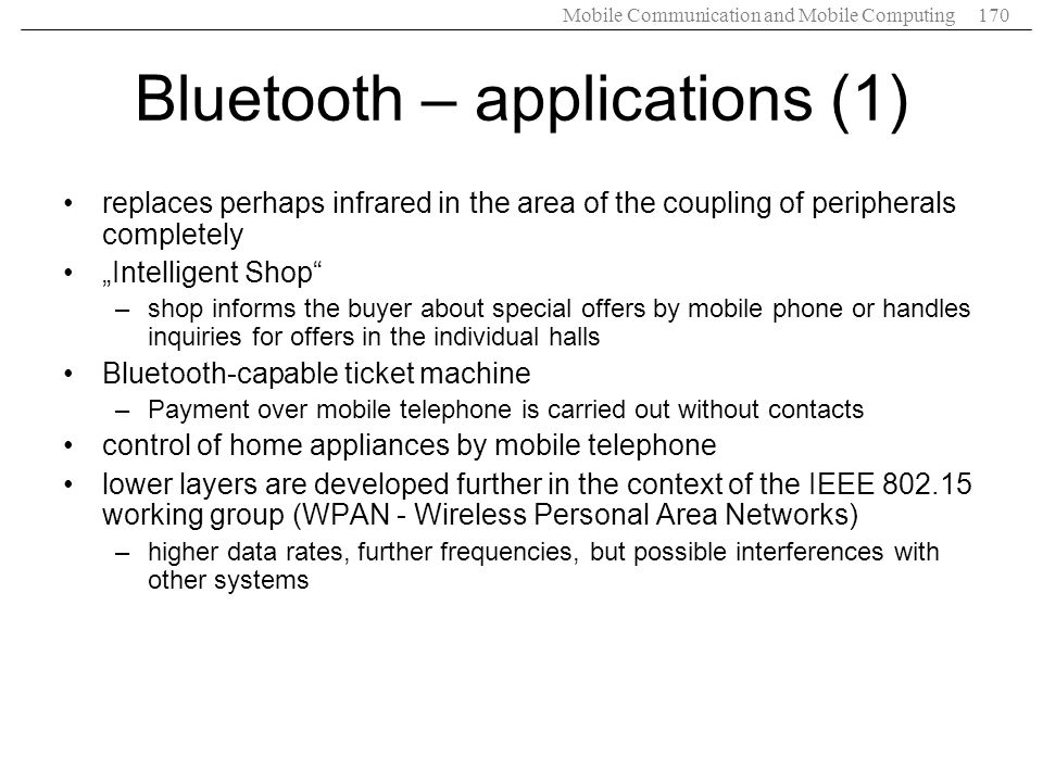 Bluetooth – applications (1)
