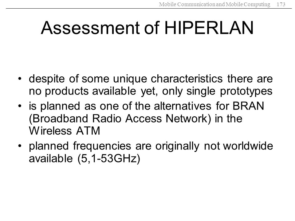 Assessment of HIPERLAN