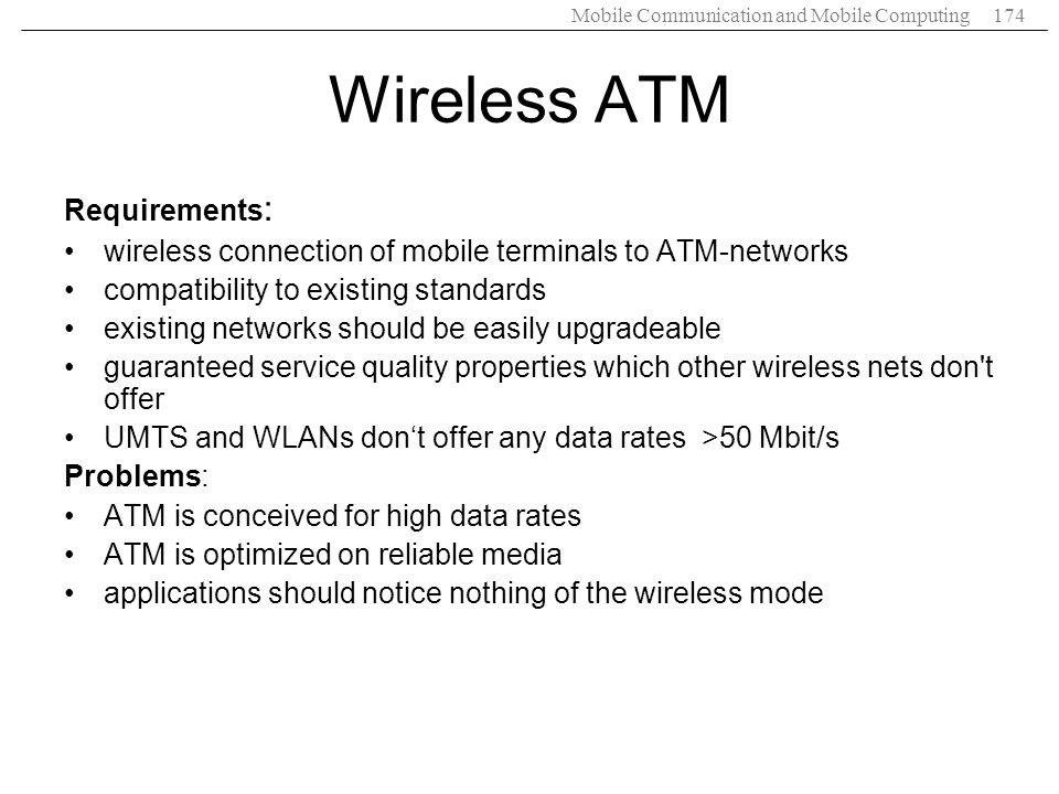 Wireless ATM Requirements: