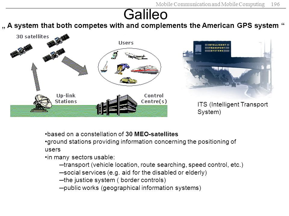 "Galileo "" A system that both competes with and complements the American GPS system ITS (Intelligent Transport System)"