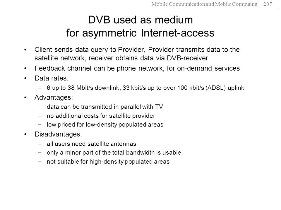 DVB used as medium for asymmetric Internet-access