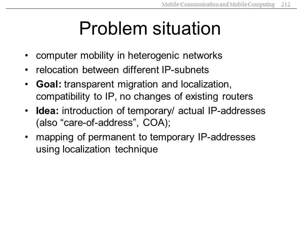 Problem situation computer mobility in heterogenic networks