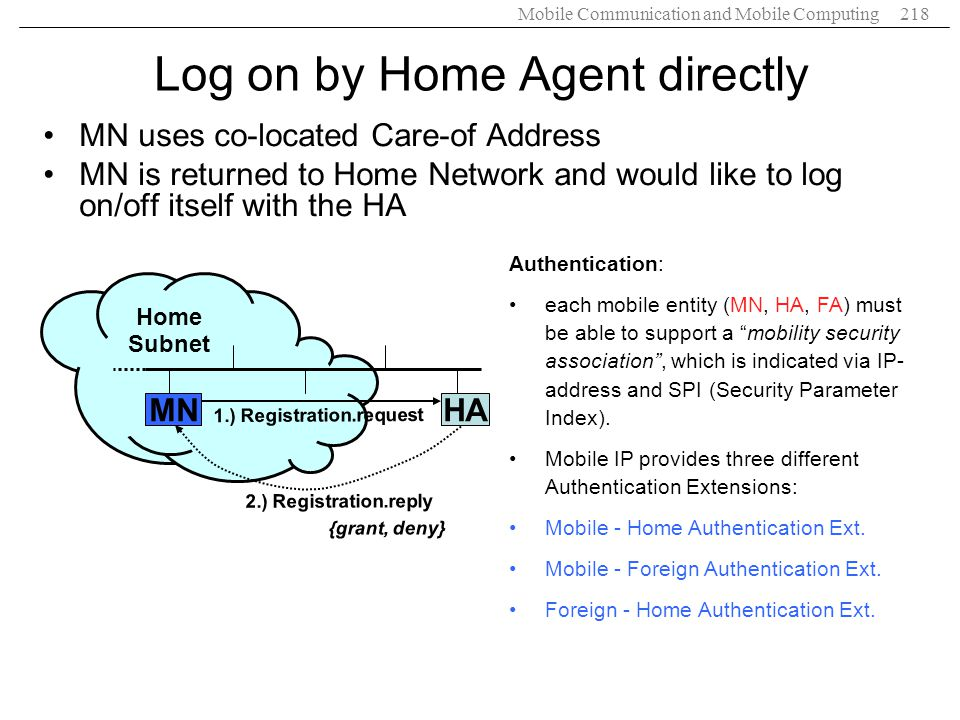 Log on by Home Agent directly