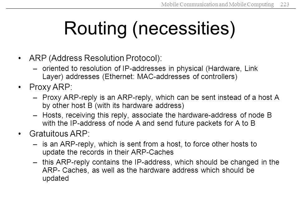 Routing (necessities)