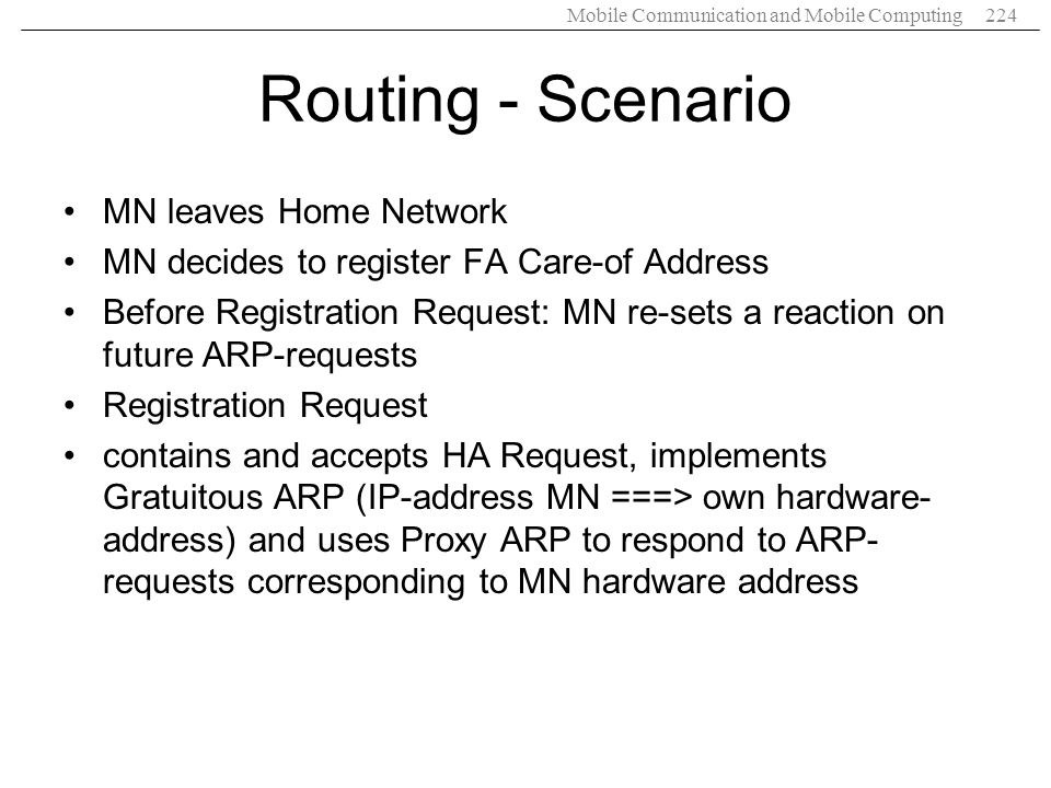 Routing - Scenario MN leaves Home Network