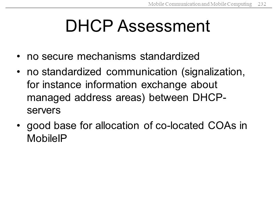 DHCP Assessment no secure mechanisms standardized