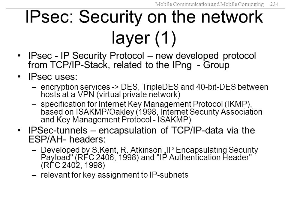 IPsec: Security on the network layer (1)