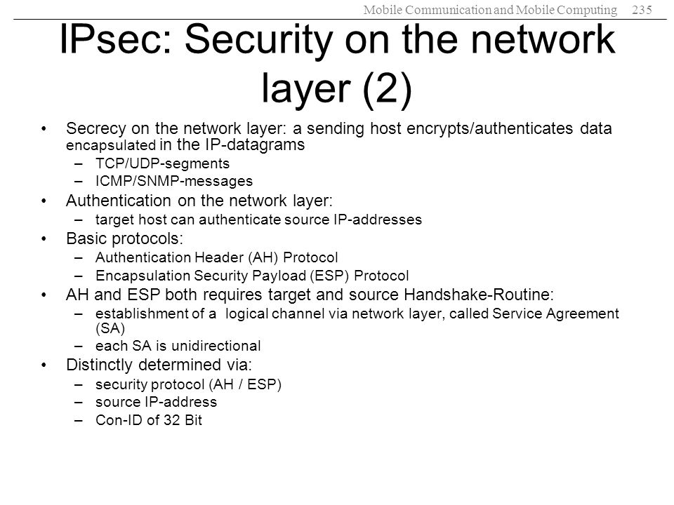 IPsec: Security on the network layer (2)