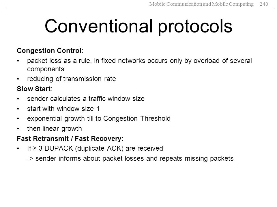 Conventional protocols